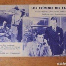 Cine: FOLLETO MANO CINE LOS CRIMENES DEL FANTASMA. Lote 178192785