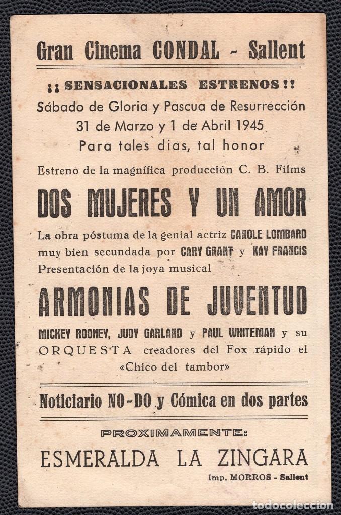 Cine: DIS MUJERES Y UN AMOR - FOLLETO DE MANO (13,2 cm. x 8,5 cm) -ORIGINAL 1945 - Publicidad en reverso - Foto 2 - 178326803
