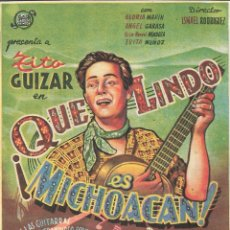 Folhetos de mão de filmes antigos de cinema: PROGRAMA DE CINE - ¡ QUE LINDO ES MICHOACAN ! - TITO GUIZAR - CINE PERELLÓ (MELILLA) - 1943.. Lote 178329180