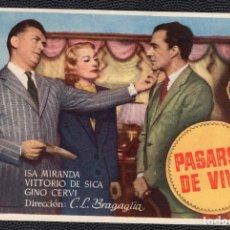 Cine: PASARSE DE VIVO - FOLLETO DE MANO (13,5 CM. X 8,7 CM) -ORIGINAL- PUBLICIDAD EN REVERSO. Lote 178330025