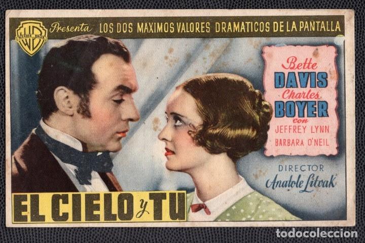 EL CIELO Y TU - FOLLETO DE MANO (13,3 CM. X 8,4 CM) -ORIGINAL 1946- PUBLICIDAD EN REVERSO (Cine - Folletos de Mano - Drama)