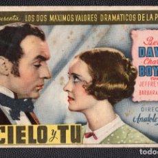 Cine: EL CIELO Y TU - FOLLETO DE MANO (13,3 CM. X 8,4 CM) -ORIGINAL 1946- PUBLICIDAD EN REVERSO. Lote 178348326