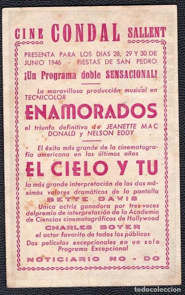 Cine: EL CIELO Y TU - FOLLETO DE MANO (13,3 cm. x 8,4 cm) -ORIGINAL 1946- Publicidad en reverso - Foto 2 - 178348326