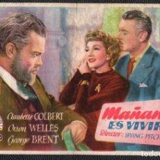 Cine: MAÑANA ES VIVIR - FOLLETO DE MANO (13,5 CM. X 8,7 CM) -ORIGINAL 1948 - PUBLICIDAD EN REVERSO. Lote 178348702