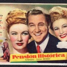 Cine: PENSION HISTORICA - FOLLETO DE MANO (13,3 CM. X 8,7 CM) -ORIGINAL 1947- PUBLICIDAD EN REVERSO. Lote 178349266