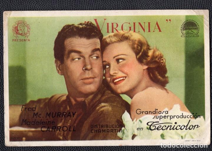 VIRGINIA - FOLLETO DE MANO (13,5 CM. X 9 CM) -ORIGINAL 1946 - PUBLICIDAD EN REVERSO (Cine - Folletos de Mano - Drama)