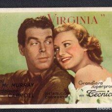 Cine: VIRGINIA - FOLLETO DE MANO (13,5 CM. X 9 CM) -ORIGINAL 1946 - PUBLICIDAD EN REVERSO. Lote 178349828