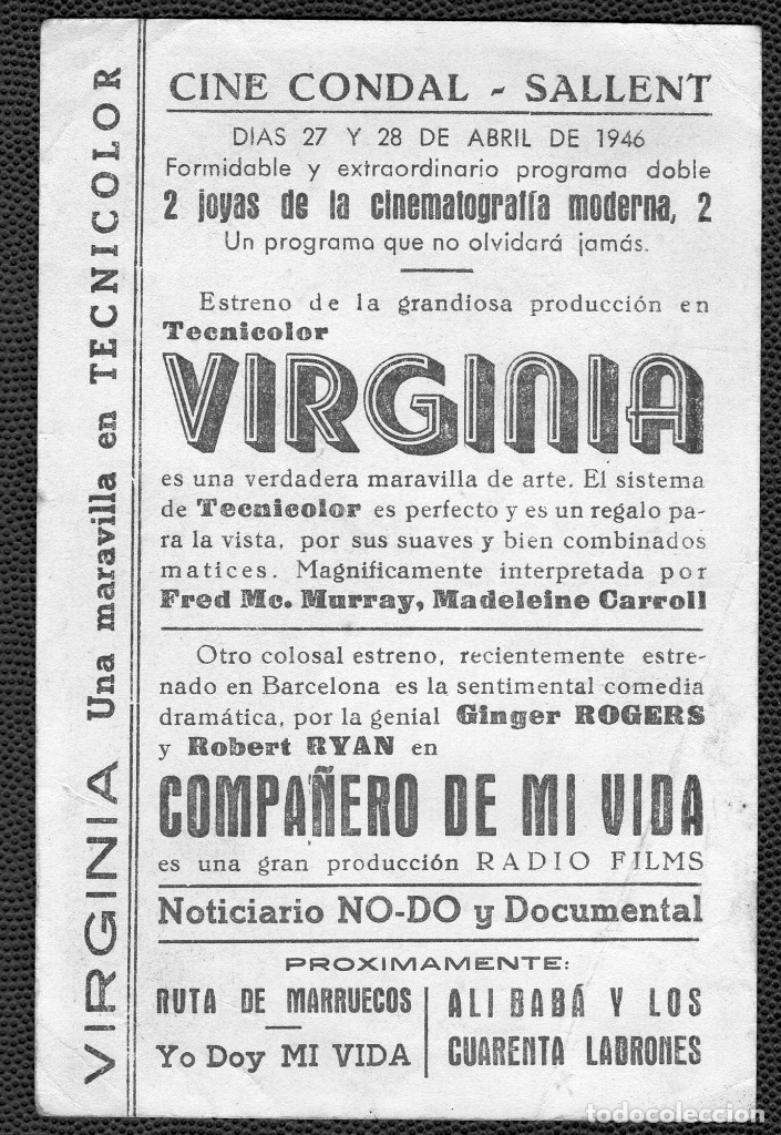 Cine: VIRGINIA - FOLLETO DE MANO (13,5 cm. x 9 cm) -ORIGINAL 1946 - Publicidad en reverso - Foto 2 - 178349828