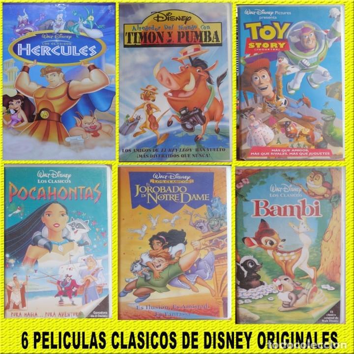 VHS PELICULAS LOTE 6 UNIDADES ORIGINALES ** CLASICOS DE DISNEY ** (Cine - Folletos de Mano - Infantil)