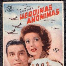Cine: HEROINAS ANONIMAS - FOLLETO DE MANO (8,4 CM. X 13,3 CM) -ORIGINAL 1946- PUBLICIDAD EN REVERSO. Lote 178560631