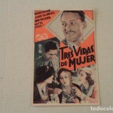 Cine: PROGRAMA TRES VIDAS DE MUJER - TEATRO GUIMERÁ Y PICAROL CINEMA. Lote 178569702