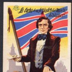 Cine: PRIMER MINISTRO - FOLLETO DE MANO (9 CM. X 13,1 CM) -ORIGINAL 1947 - PUBLICIDAD EN REVERSO. Lote 178625148