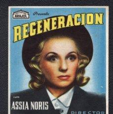 Cine: REGENERACION - FOLLETO DE MANO (8,5 CM. X 12,7 CM) -ORIGINAL 1949- PUBLICIDAD EN REVERSO. Lote 178625595