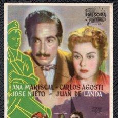 Cine: EL TAMBOR DEL BRUCH - FOLLETO DE MANO (8,7 CM. X 13,4 CM) -ORIGINAL 1948 - PUBLICIDAD EN REVERSO. Lote 178674367