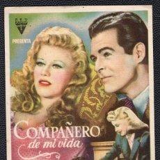 Cine: COMPAÑERO DE MI VIDA - FOLLETO DE MANO (8,9 CM. X 13,6 CM) -ORIGINAL 1946 - PUBLICIDAD EN REVERSO. Lote 178681086