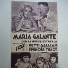 Cine: MARIA GALANTE 1934 CON LA NUEVA ESTRELLA SPENCER TRACY, KETTI GALLIAN, NED SPARKS, HELEN MORGAN, SIG. Lote 178684725