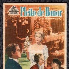Cine: PLEITO DE HONOR - FOLLETO DE MANO (8,7 CM. X 13,3 CM) -ORIGINAL 1950 - PUBLICIDAD EN REVERSO. Lote 178685185