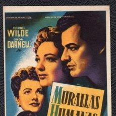 Cine: MURALLAS HUMANAS - FOLLETO DE MANO (8,5 CM. X 13,3 CM) -ORIGINAL - PUBLICIDAD EN REVERSO. Lote 178687522