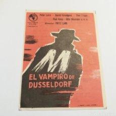 Cine: PROGRAMA DE MANO AÑO 1962 EL VAMPIRO DE DUSSELDORF FRITZ LANG PETER LORRE THEO LINGEN COLUMBUS FILMS. Lote 178708121