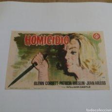 Cine: PROGRAMA DE MANO AÑO 1963 HOMICIDIO GLENN CORBETT PATRICIA BRESLIN JEAN ARLESS WILLIAM CASTLE. Lote 178708650