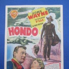 Cine: HONDO , JOHN WAYNE , CINE ROCH , ALCAÑIZ. Lote 222797701