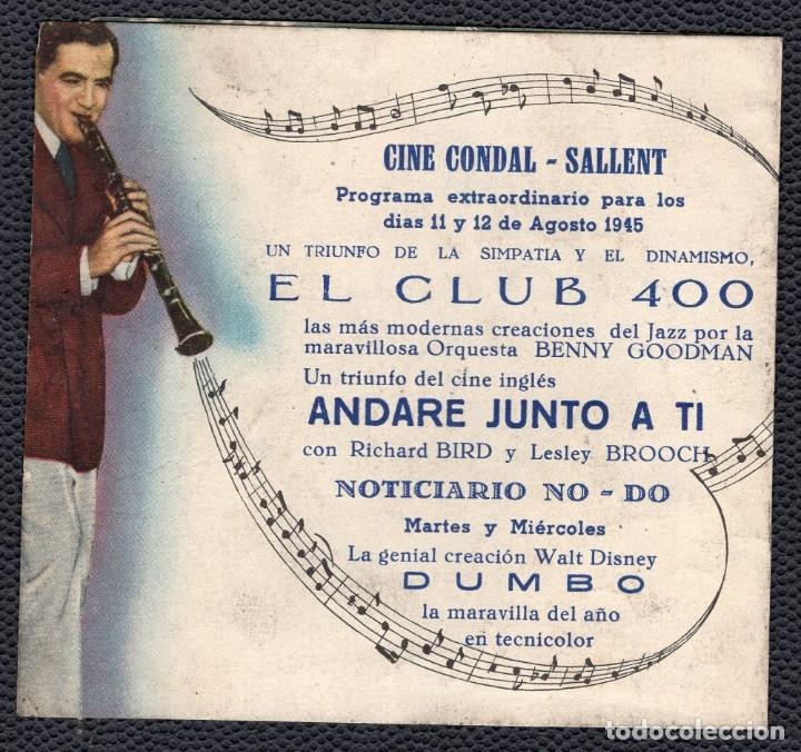 Cine: EL CLUB 400 -Programa doble - ORIGINAL -Publicidad en reverso- 3 Imágenes - Foto 2 - 178798661
