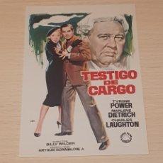 Cine: PROGRAMA DE MANO - FOLLETO - CINE - ORIGINAL - TYRONE POWER - TESTIGO DE CARGO. Lote 178873668