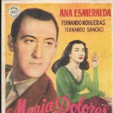 Cine: PROGRAMA DE CINE - MARIA DOLORES - ANA ESMERALDA - CINE CAPITOL, DUQUE Y PLUS ULTRA (MÁLAGA) - 1953.. Lote 178874918