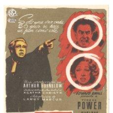 Cine: TESTIGO DE CARGO PROGRAMA SENCILLO CB FILMS TYRONE POWER MARLENE DIETRICH. Lote 178887863