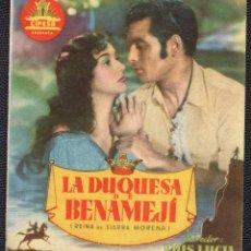Cine: LA DUQUESA DE BENAMEJÍ -PROGRAMA DOBLE - ORIGINAL -PUBLICIDAD EN REVERSO- 3 IMÁGENES. Lote 178902153
