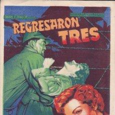 Folhetos de mão de filmes antigos de cinema: REGRESARÓN TRES. Lote 178999365