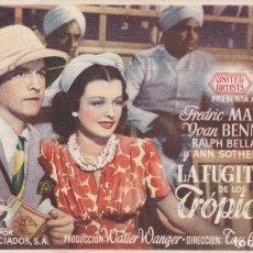 Folhetos de mão de filmes antigos de cinema: LA FUGITIVA DE LOS TRÓPICOS. Lote 179001898