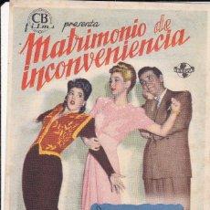 Folhetos de mão de filmes antigos de cinema: MATRIMONIO DE INCOVENIENCIA. Lote 179001973