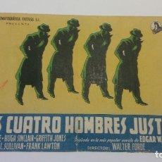 Cine: PROGRAMA DE CINE: LO CUATRO HOMBRES JUSTOS - PROGRAMA ORIGINAL DOBLE SIN PUBLICIDAD.. Lote 179128672