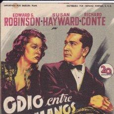 Folhetos de mão de filmes antigos de cinema: ODIO ENTRE HERMANOS. Lote 179312715