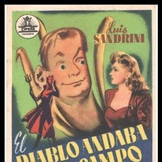 Cine: FOLLETO DE MANO, EL DIABLO ANDABA EN EL CAMPO, LUIS SANDRINI Y SILVANA ROTH.. Lote 179393880