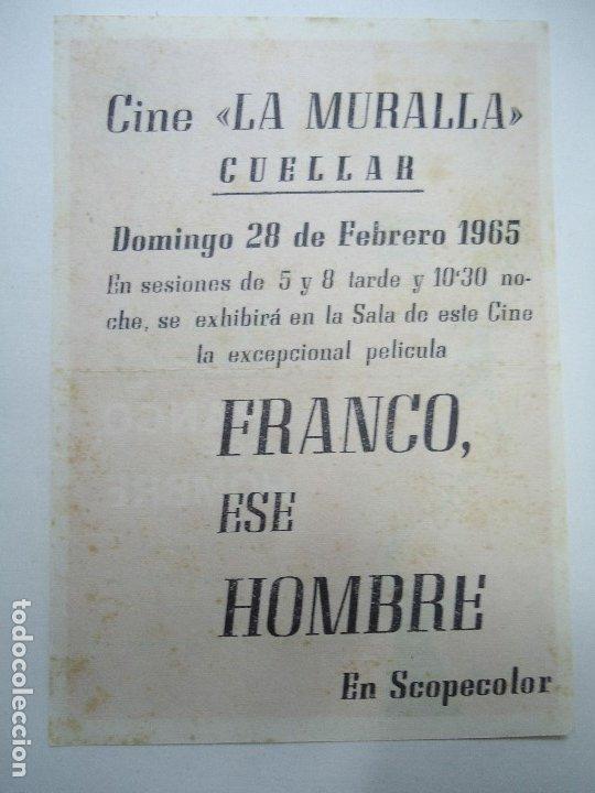 FRANCO, ESE HOMBRE 1965 PUBLICIDAD CINE LA MURALLA IMPECABLE PIE G. REY MUY BIEN CONSERVADO DOCUMENT (Cine - Folletos de Mano - Documentales)