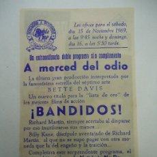 Cine: A MERCED DEL ODIO 15 DE NOVIEMBRE DE 1969 PUBLICIDAD BETTE DAVIS, JILL BENNETT, WILLIAM DIX, JAMES V. Lote 179526937