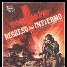 Cine: FOLLETO DE MANO, REGRESO DEL INFIERNO, AUDIE MURPHY Y MARSHALL THOMPSON.. Lote 179531133