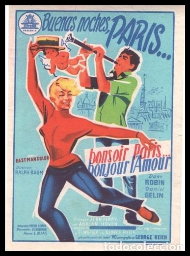 FOLLETO DE MANO, BUENAS NOCHES PARIS, DANY ROBIN Y DANIEL GELIN. (Cine - Folletos de Mano - Musicales)