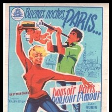 Foglietti di film di film antichi di cinema: FOLLETO DE MANO, BUENAS NOCHES PARIS, DANY ROBIN Y DANIEL GELIN.. Lote 179535342