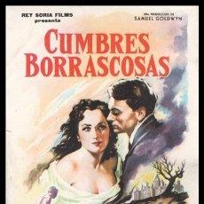 Cine: FOLLETO DE MANO, CUMBRES BORRASCOSAS, LAURENCE OLIVIER, MERLE OBERON Y DAVID NIVEN.. Lote 179551245