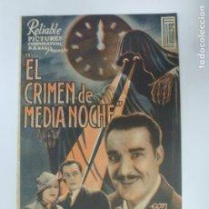 Cine: PROGRAMA DE CINE. DOBLE. EL CRIMEN DE MEDIA NOCHE. SIN PUBLICIDAD. . Lote 180106340