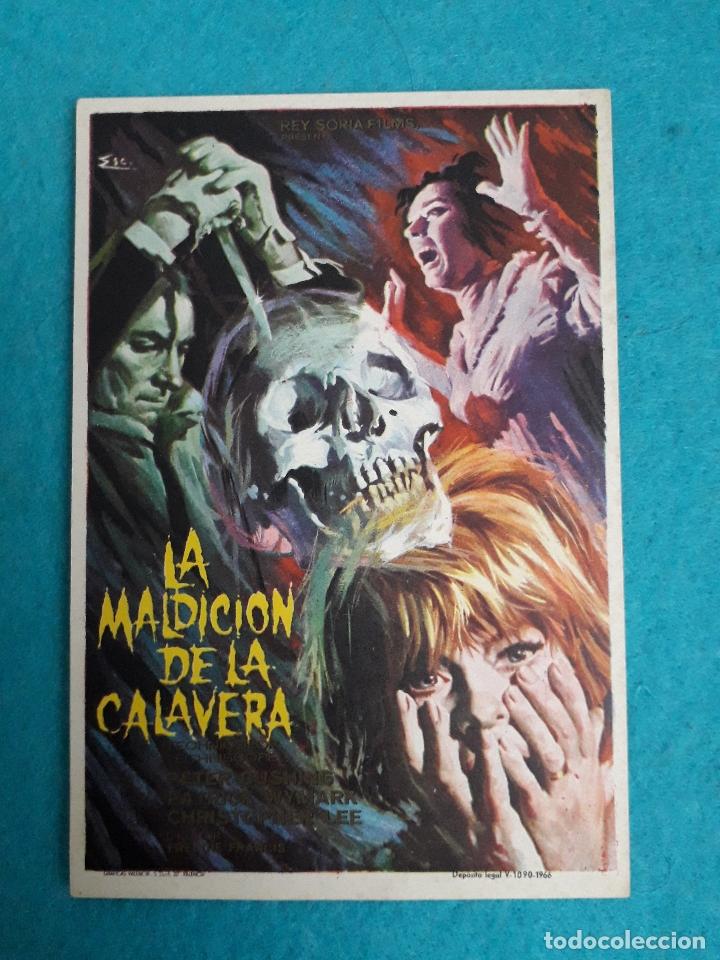 LA MALDICIÓN DE LA CALAVERA. AÑO 1966. CHRISTOPHER LEE, PETER CUSHING, PATRICK WYMARK. (Cine - Folletos de Mano - Terror)