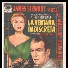 Cine: FOLLETO DE MANO, LA VENTANA INDISCRETA, JAMES STEWART, GRACE KELLY Y DEMAS.. Lote 180167232