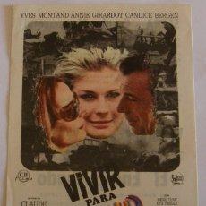Cine: PROGRAMA DE CINE VIVIR PARA VIVIR . Lote 180251561