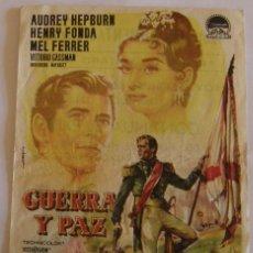 Cine: PROGRAMA DE CINE GUERRA Y PAZ ANDREY HEPBURN HENRY FONDA MEL FERRER. Lote 180256052