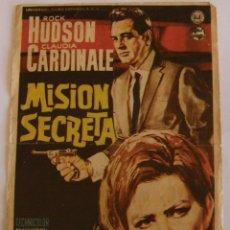 Cine: PROGRAMA DE CINE MISION SECRETA ROCK HUDSON CLAUDIA CARDINALE. Lote 180325431