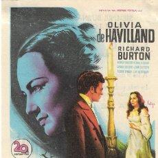 Cine: PROGRAMA DE CINE - MI PRIMA RACHEL - OLIVIA DE HAVILLAND, RICHARD BURTON - CINE ALAMEDA (MÁLAGA).. Lote 180330778