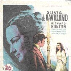 Cine: PROGRAMA DE CINE - MI PRIMA RACHEL - OLIVIA DE HAVILLAND, RICHARD BURTON - 1952 - SIN PUBLICIDAD.. Lote 180331187